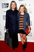 NEW YORK- OCT 8: Actors Cherry Jones and Celia Keenan-Bolger (R) attend the premiere of