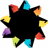Star shaped design element with colorful arrows