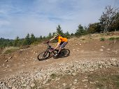 Mountain Biker Riding Trails In Wales