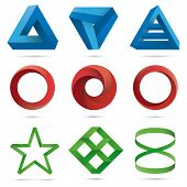 Infinite Loops and Impossible Objects Collection. Set of nine three-dimensional floating design elem