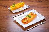 stock photo of enchiladas  - Mexican enchiladas on the plate  - JPG