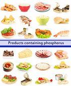 Products containing phosphorus isolated on white