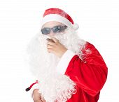 stock photo of cigar  - Santa Claus wearing sunglasses and smoking a cigar isolated on white background - JPG
