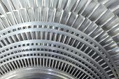 stock photo of turbines  - Close up of internal rotor of a steam Turbine - JPG
