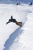 Snowboarder On Half Pipe Of Prodollano Ski Resort In Spain