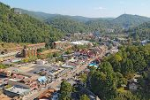 Aerial Wide-angle View Of The Main Road Through Gatlinburg, Tennessee