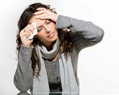 Sick Woman. Flu. Woman Caught Cold. Sneezing into Tissue. Headache. Virus. Isolated on White Backgro