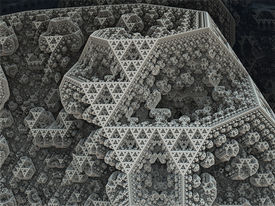 image of tetrahedron  - Sierpinski tetrahedron in fantasy fractal city - JPG