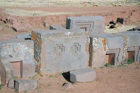picture of pumapunku  - Ancient ruins of Puma Punku - JPG