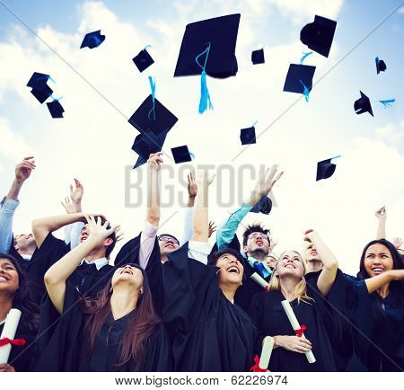 Graduation Caps Thrown in the Air poster