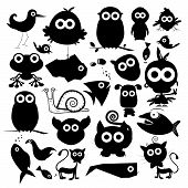 picture of baby frog  - Black Vector Animals Silhouette Set Isolated on White Background - JPG