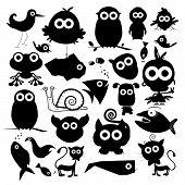 Black Vector Animals Silhouette Set