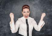 Beautiful Business Woman Celebrating Success