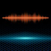 Orange shiny sound waveform on hex grid