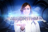 The word algorithm and portrait of female nurse holding out open palm against white cloud design on a futuristic structure
