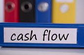 The word cash flow on blue business binder