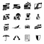 Insurance security icons set