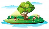 Illustration of an island with playful monkeys on a white background