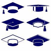 Graduation cap icon  set vector  illustration
