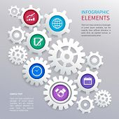Gears infographics template