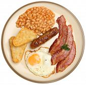 English fried breakfast with egg, bacon, sausage, hash browns and baked beans.