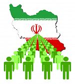 Lines of people with Iran map flag vector illustration