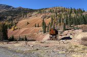 stock photo of million-dollar  - Old abandoned mining shaft in Colorado on Million dollar highway - JPG