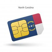 State of North Carolina phone sim card with flag.