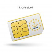 State of Rhode Island phone sim card with flag.