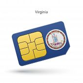 State of Virginia phone sim card with flag.