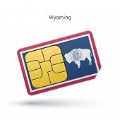 State of Wyoming phone sim card with flag.