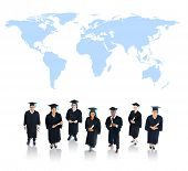 Graduating Students with World Map