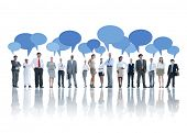 picture of recommendation  - Group of Business People Talking with Speech Bubbles - JPG