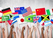 foto of flags world  - Diversity of Hands Holding National Flags - JPG
