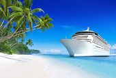 3D Cruise Ship by Tropical Beach