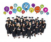 Education: Happy Graduating Students with Speech Bubbles