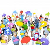 Large Group of Diverse People with Social Media Icons