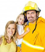 Mother and Daughter with Fireman Father Smiling Together