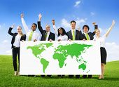 Global Green Business with People Cheering and Banner