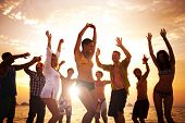 image of sun flare  - Diverse Young Happy People Dancing at Sunset - JPG