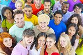 picture of gathering  - Large Group of Diverse Multiethnic Students - JPG