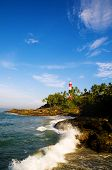 Lighthouse on Coastline at Kovalam, Kerela, India