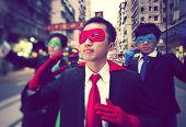 Asian Superhero Businessmen in Hong Kong