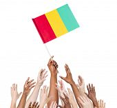 Group Of Multi-Ethnic People Reaching For And Holding The Flag Of Guinea