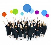 Cheerful Students Graduating With Speech Bubbles