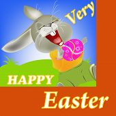 Happy Rabbit and Easter food.Holiday Happy Easter