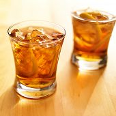 foto of southern  - iced southern sweet tea with lemon slices - JPG