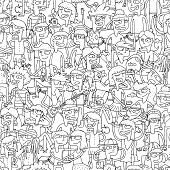 Singing Children Seamless Pattern In Black And White