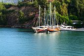 Yachts At The Pier On Turkish Resort, Fethiye, Turkey
