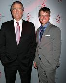 LOS ANGELES - MAR 25:  Eric Braeden, David Tom at the Young and Restless 41st Anniversary Cake at CB